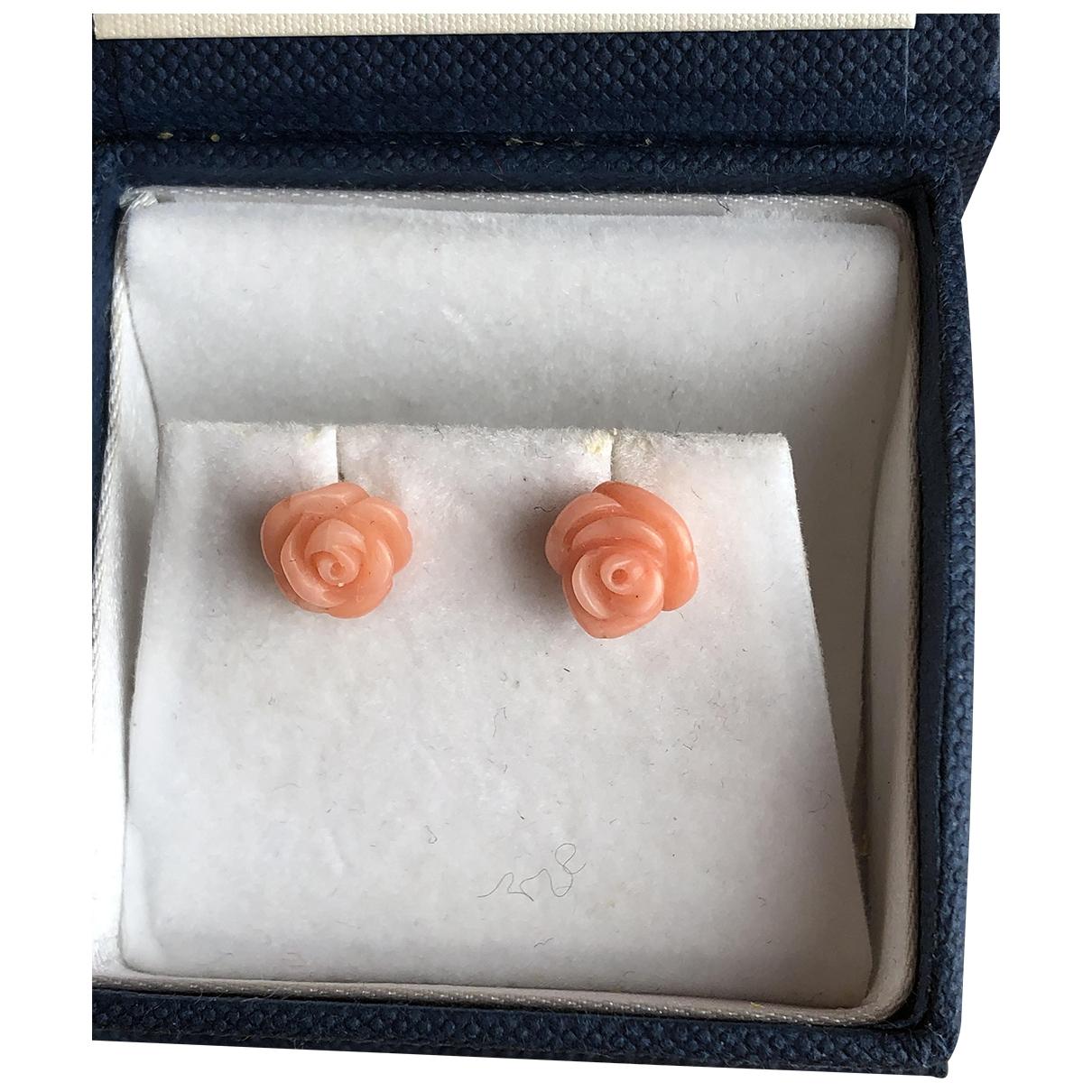 - Boucles doreilles Corail pour femme en or jaune - rose