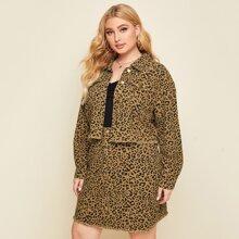 Plus Raw Hem Leopard Denim Jacket & Skirt Set