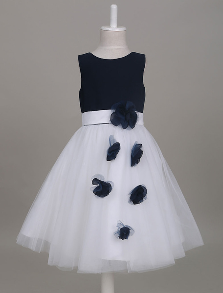 Milanoo Flower Girl Dresses Dark Navy Tutu Dress Short Kids Formal Party Dresses For Girls