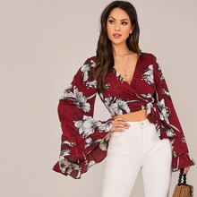 Bell Sleeve Knot Side Floral Wrap Top