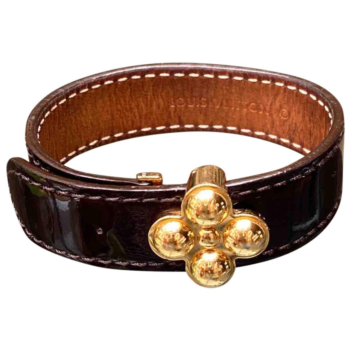 Louis Vuitton - Bracelet   pour femme en cuir verni - marron