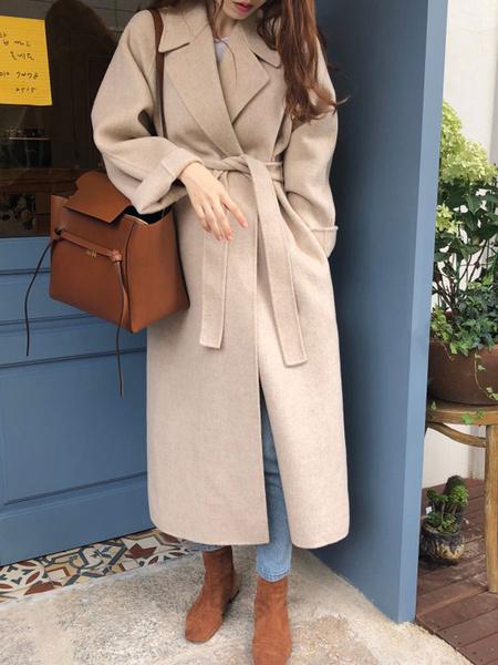 Milanoo Coat For Woman Turndown Collar Lace Up Apricot Maxi Coat Winter Coat