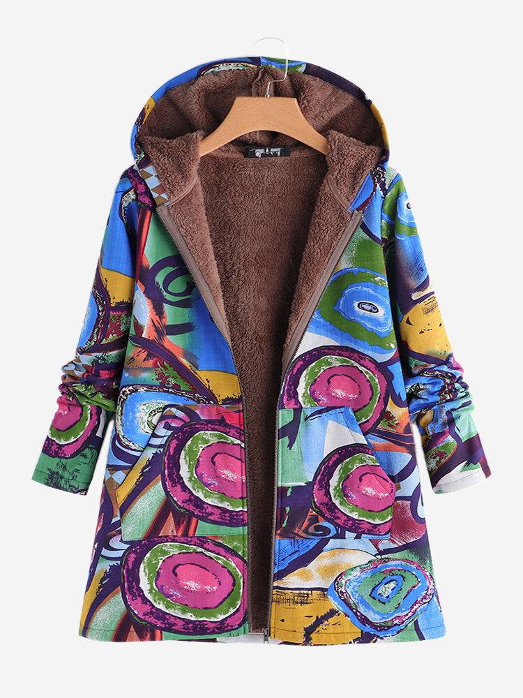 Vintage Print Long Sleeve Hooded Coats for Women