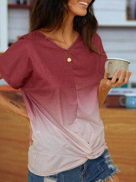 Yoins Twist Design V-neck Short Sleeves Tee
