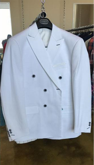 Mens Cotton Fabric White Double breasted suit