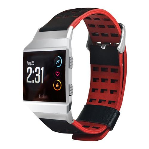 Dual Color Business Style Replacement Smart Watch Band for Fitbit Ionic - Black+Red