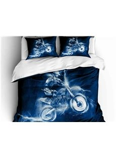 A Cool Man With Scooter Printed 3-Piece Phyester Bedding Sets