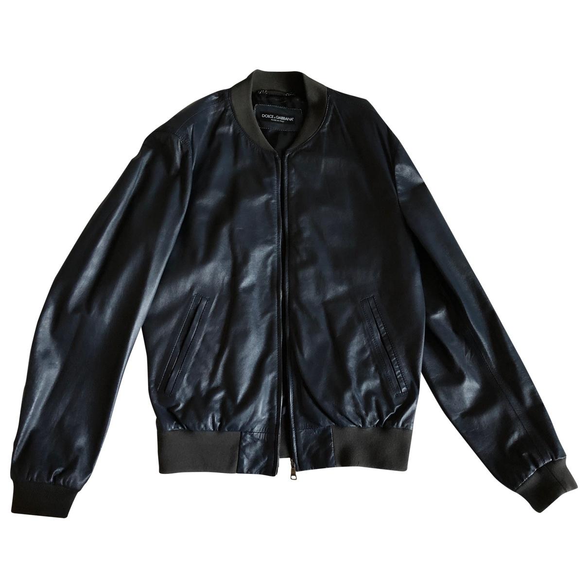 Dolce & Gabbana - Vestes.Blousons   pour homme en cuir - marine