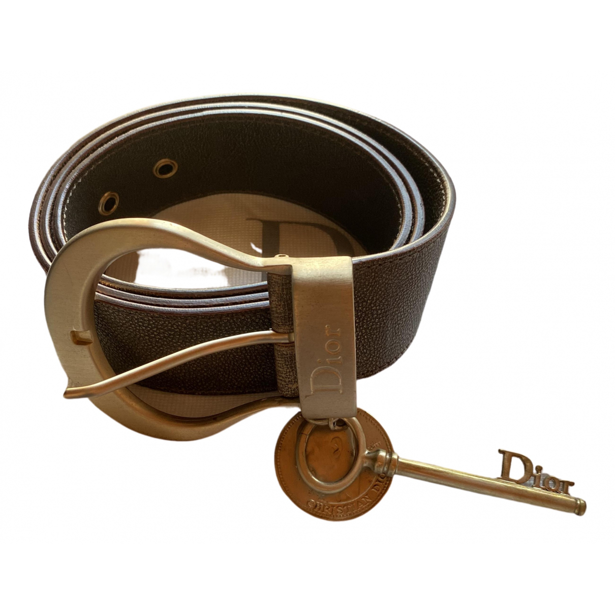 Dior \N Metallic Leather belt for Women 90 cm
