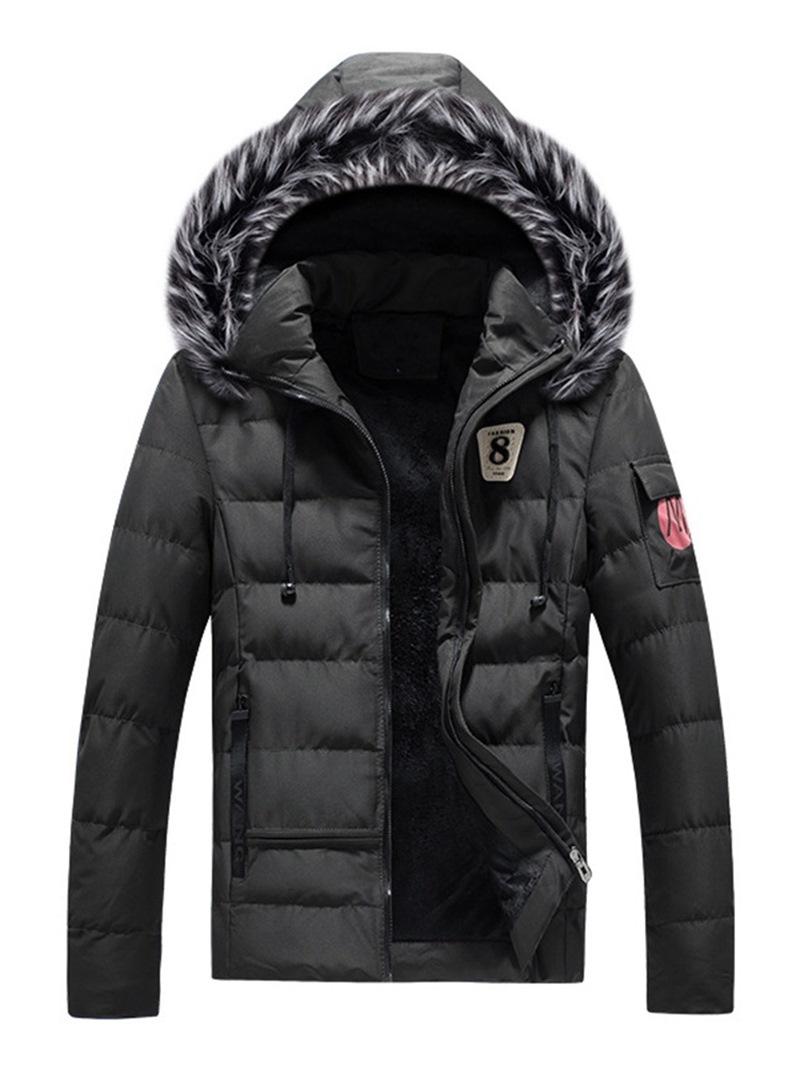 Ericdress Plain Fur Hooded Zipper Mens Casual Winter Coats