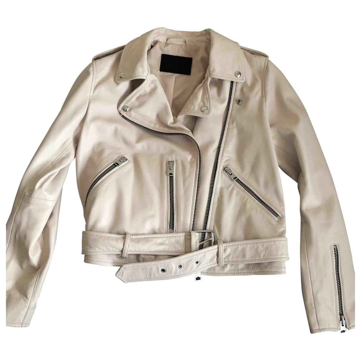All Saints \N Pink Leather jacket for Women 12 UK
