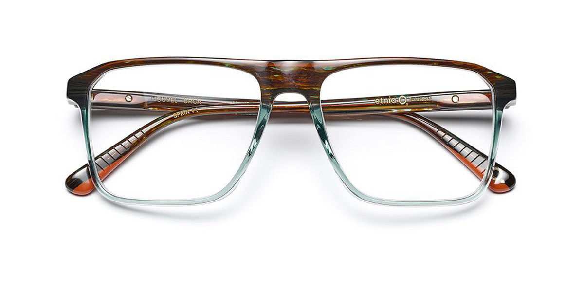Etnia Barcelona Nouvel BRGR Men's Glasses Brown Size 55 - Free Lenses - HSA/FSA Insurance - Blue Light Block Available