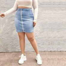 Plus O-ring Zip Up Bodycon Denim Skirt