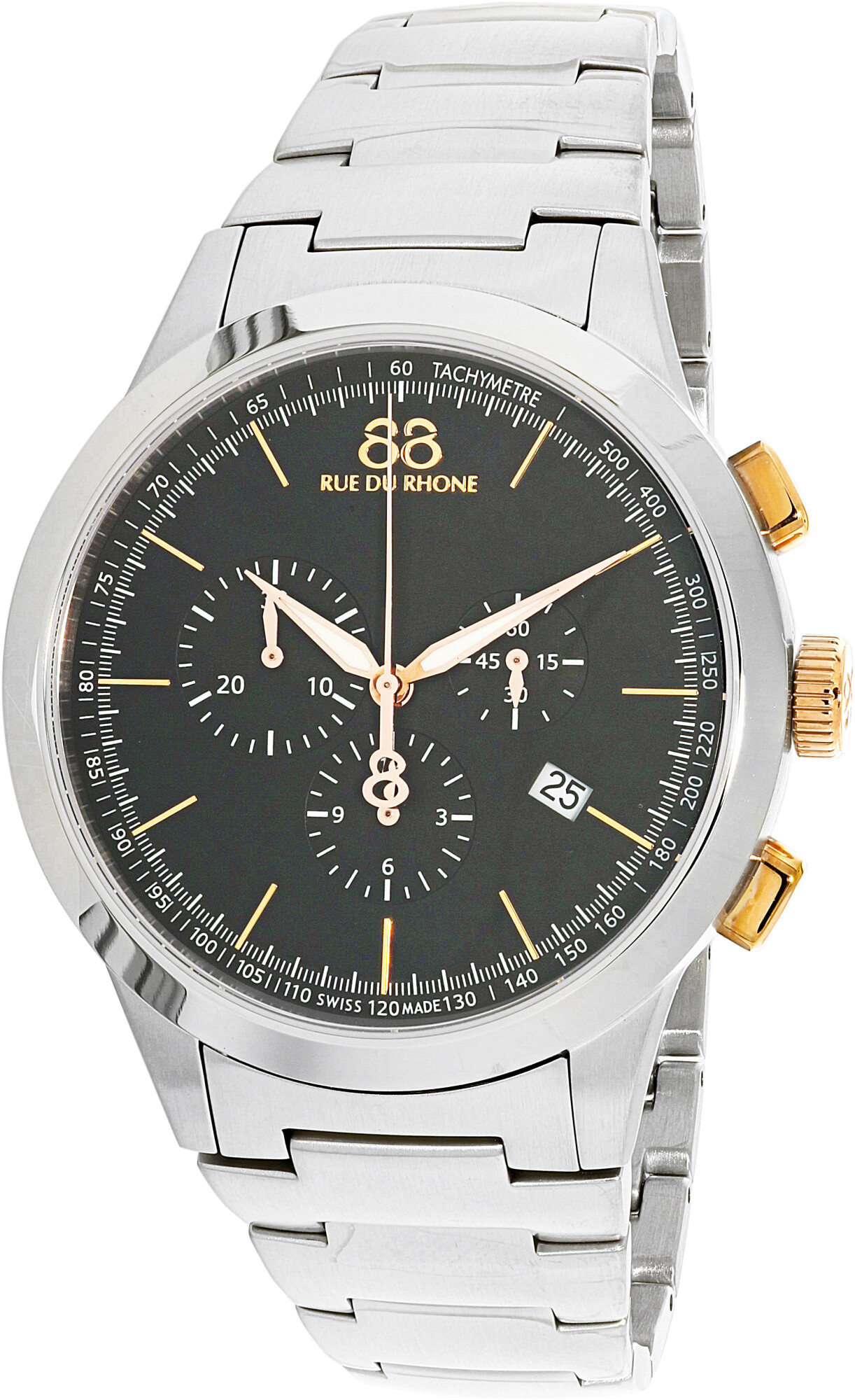 88 Rue Du Rhone Men's Rive 87WA154303 Silver Stainless-Steel Plated Swiss Parts Quartz Dress Watch