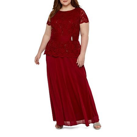 Blu Sage Short Sleeve Embellished Evening Gown-Plus, 16w , Red