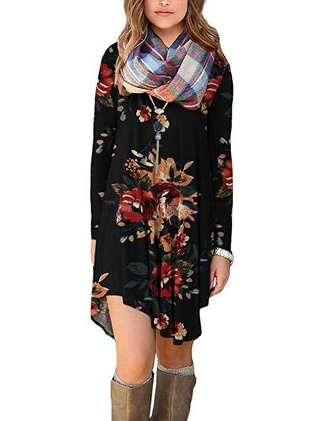 Yoins Tropical Floral V-neck Long Sleeves Dress