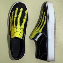 Slip On Sneakers mit Skelett Muster