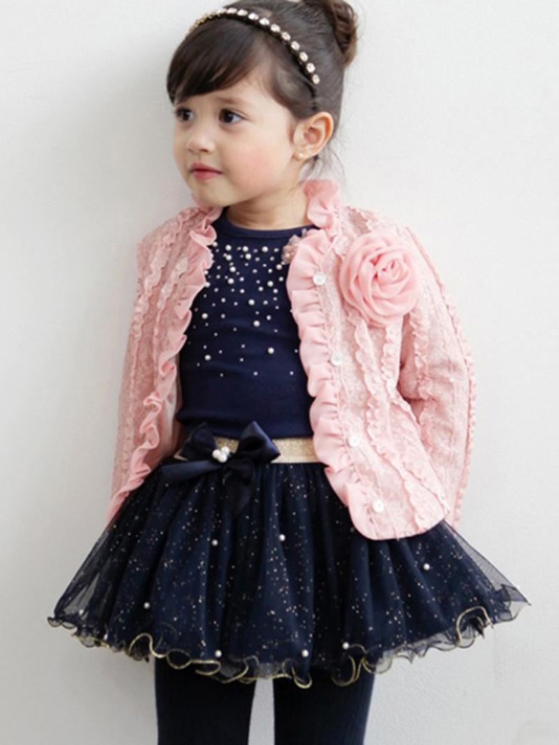 Ericdress Plain Cardigan & Sequins T-Shirt & Mesh Skirt Girl's Outfit