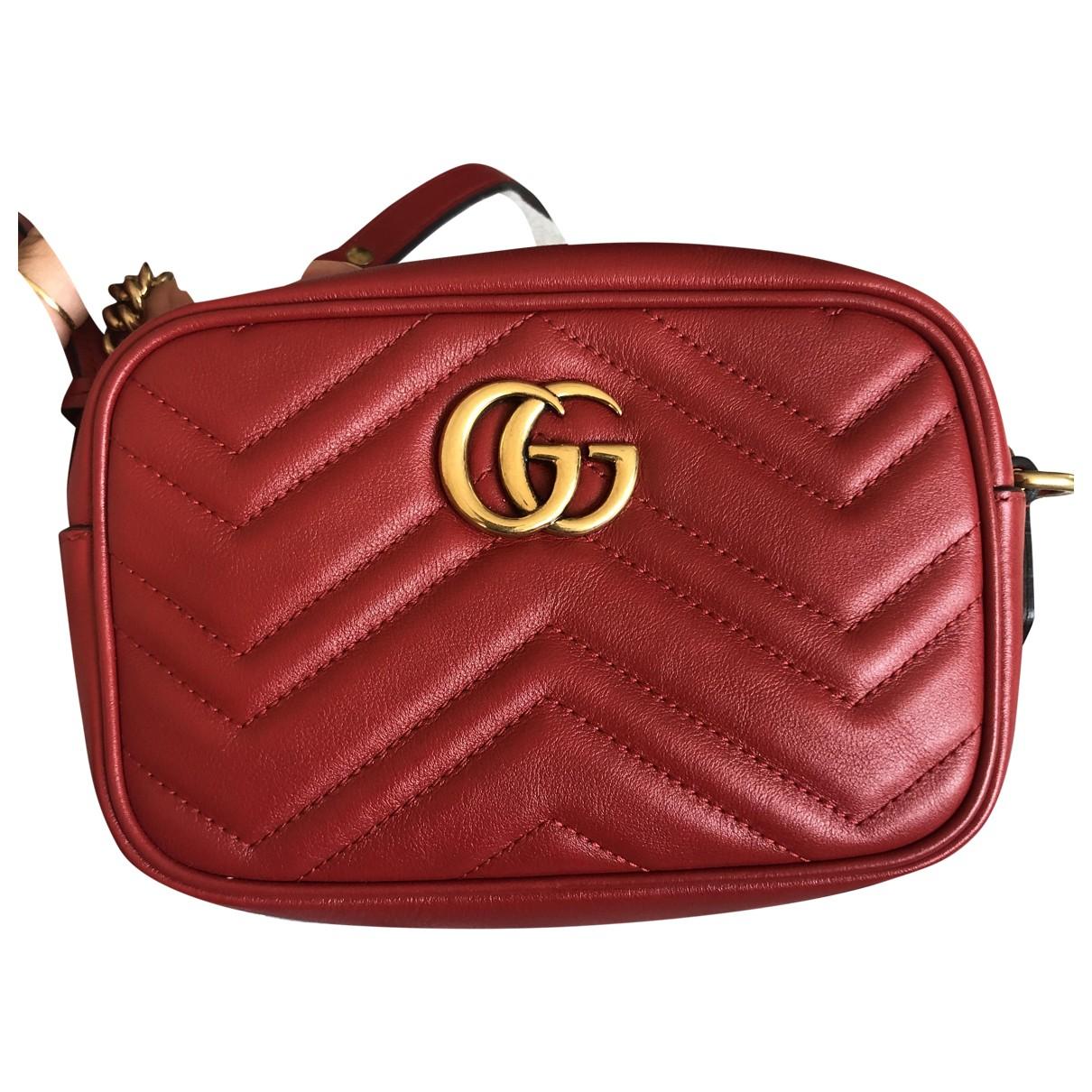 Gucci - Sac a main Marmont pour femme en cuir - rouge