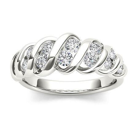 3.5MM 3/4 CT. T.W. Genuine White Diamond 14K Gold Wedding Band, 6 1/2 , Multiple Colors
