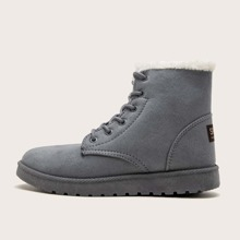Letter Patch Lace-up Front Snow Boots