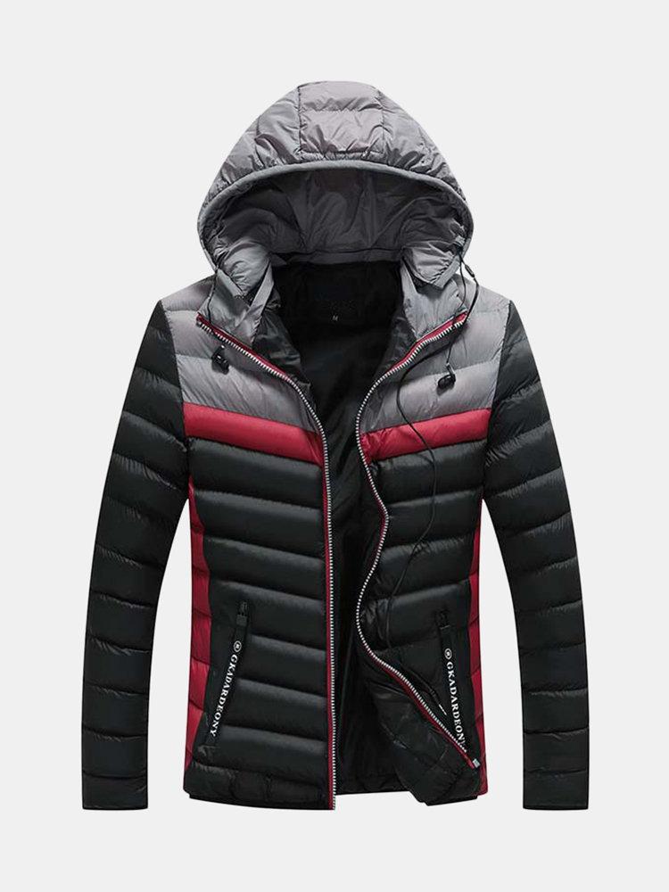 Mens Casual Winter Stitching Pockets Zipper Earphone Design Warm Down Coat