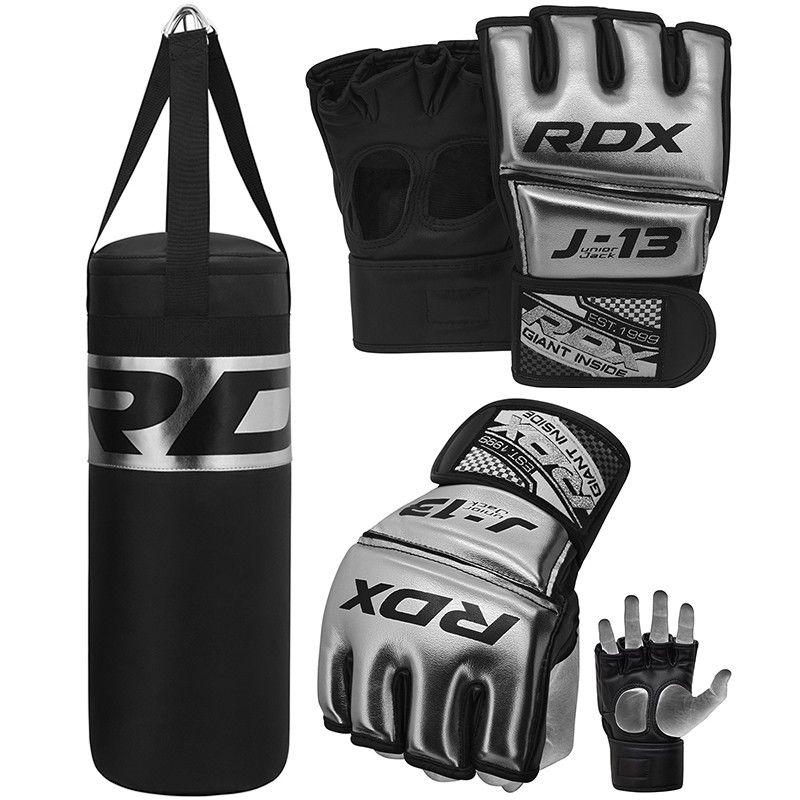 RDX J13 Plata Set De Saco De Boxeo Y Guantes De Grappling MMA