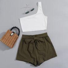 One Shoulder Crop Top & Belted Shorts Set
