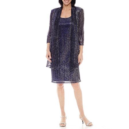 R&M Richards 3/4 Sleeve Crinkle Jacket Dress, 6 , Blue