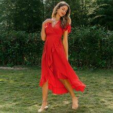Flutter Sleeve Ruffle Trim Wrap Belted Dress