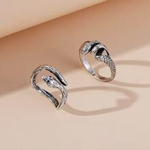2 Stuecke Ring mit Serpentin