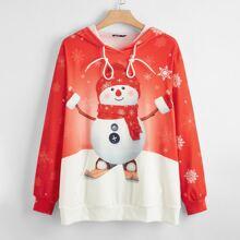 Plus Snowman Print Kangaroo Pocket Longline Hoodie
