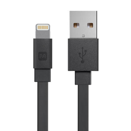 Cabernet Series Apple® MFi Certified Lightning™ to USB Charge & Sync Cable, Black - Monoprice® - 6inch