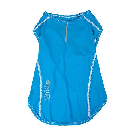 Pet Life  Active 'Racerbark' 4-Way Stretch Performance Active Dog Tank Top T-Shirt, Large , Blue
