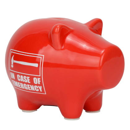 Red in Case of Emergency Piggy Bank