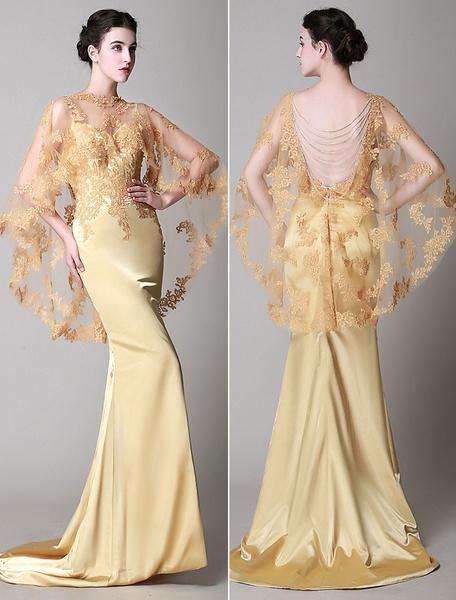 Milanoo Vestido de noche de encaje de color champaña con 1/2 manga con escote en corazon de encaje cintura natural