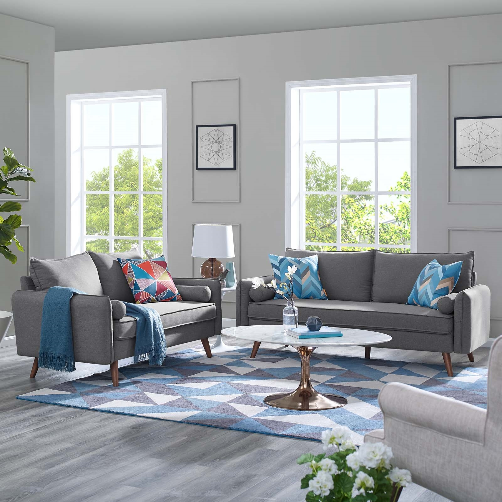 Revive Upholstered Fabric Sofa and Loveseat Set in Light gray