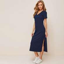 V-neck Split Hem Solid Tee Dress