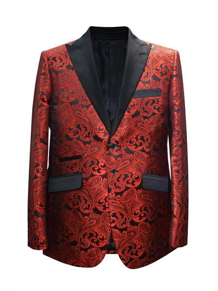 Mens 2 Button Paisley Designed Peak Lapel Red Sport Coat Blazer