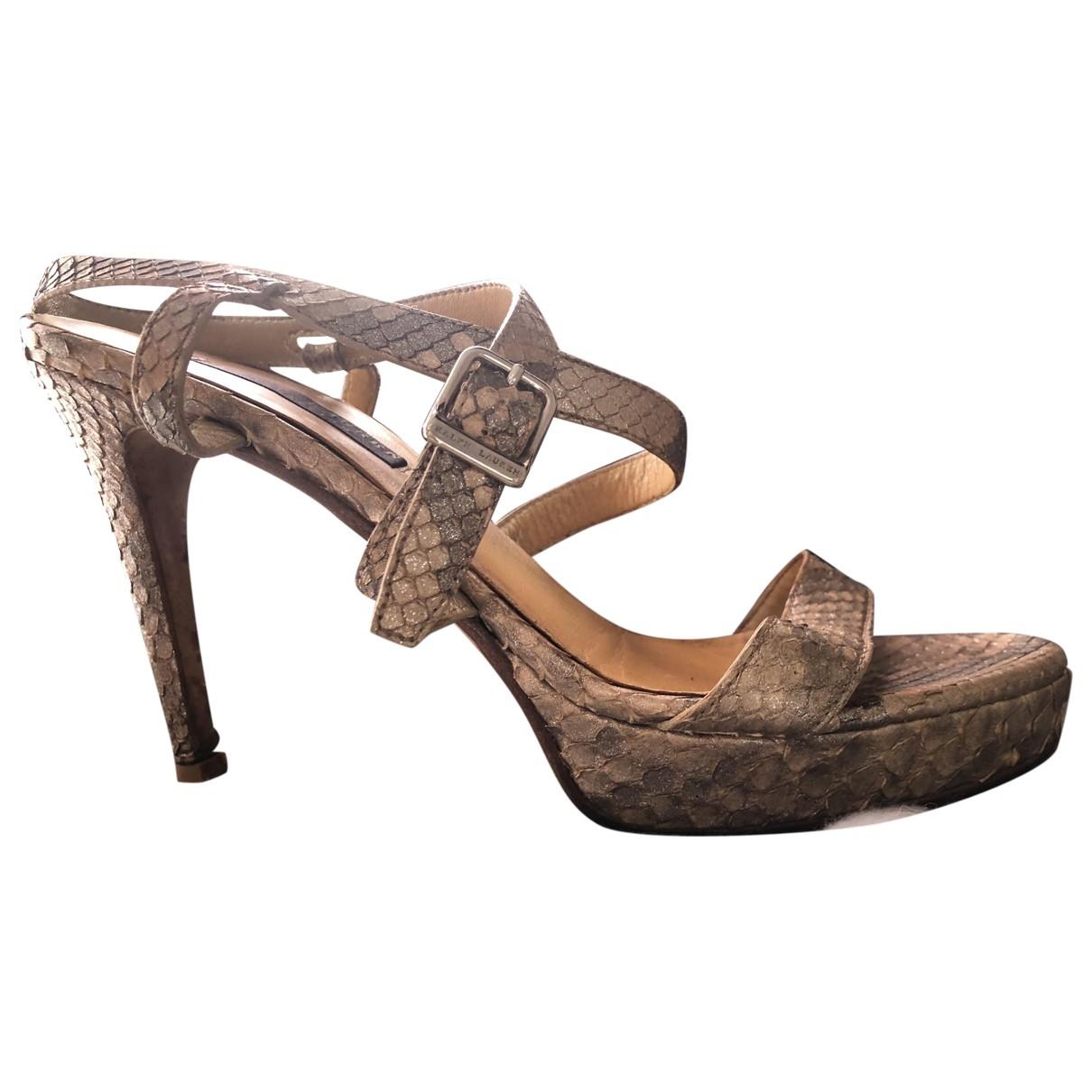 Ralph Lauren - Sandales   pour femme en cuir - dore