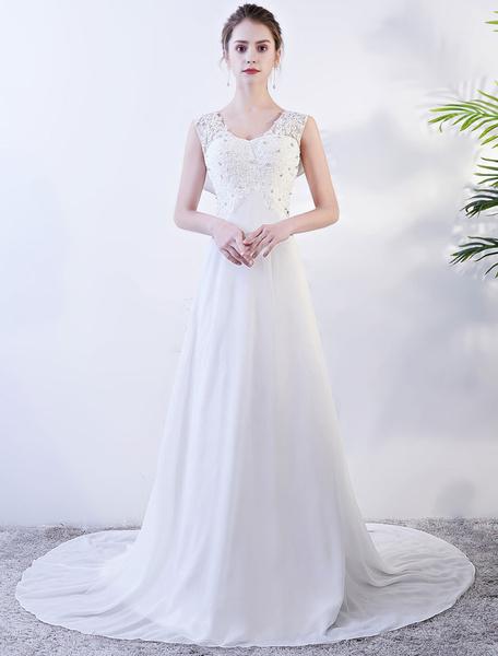 Milanoo Vestidos de boda de la playa gasa de marfil vestido de novia de verano con cuello en v capucha espalda vestidos de novia de diamantes de imita