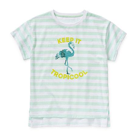 Arizona Little & Big Girls Crew Neck Short Sleeve Graphic T-Shirt, Small (7-8) , Green