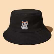 Cat Embroidered Bucket Hat