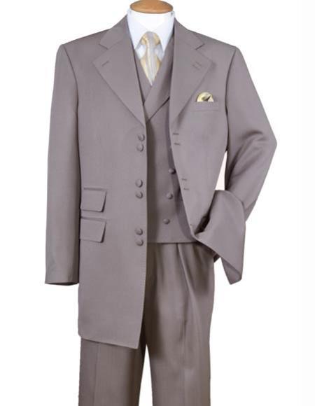 Mens 6 Button Light Brown Wide Notch 1 Polyester Double Vest Zoot Suit