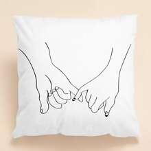 Kissenbezug mit Hand Muster ohne Fuellstoff