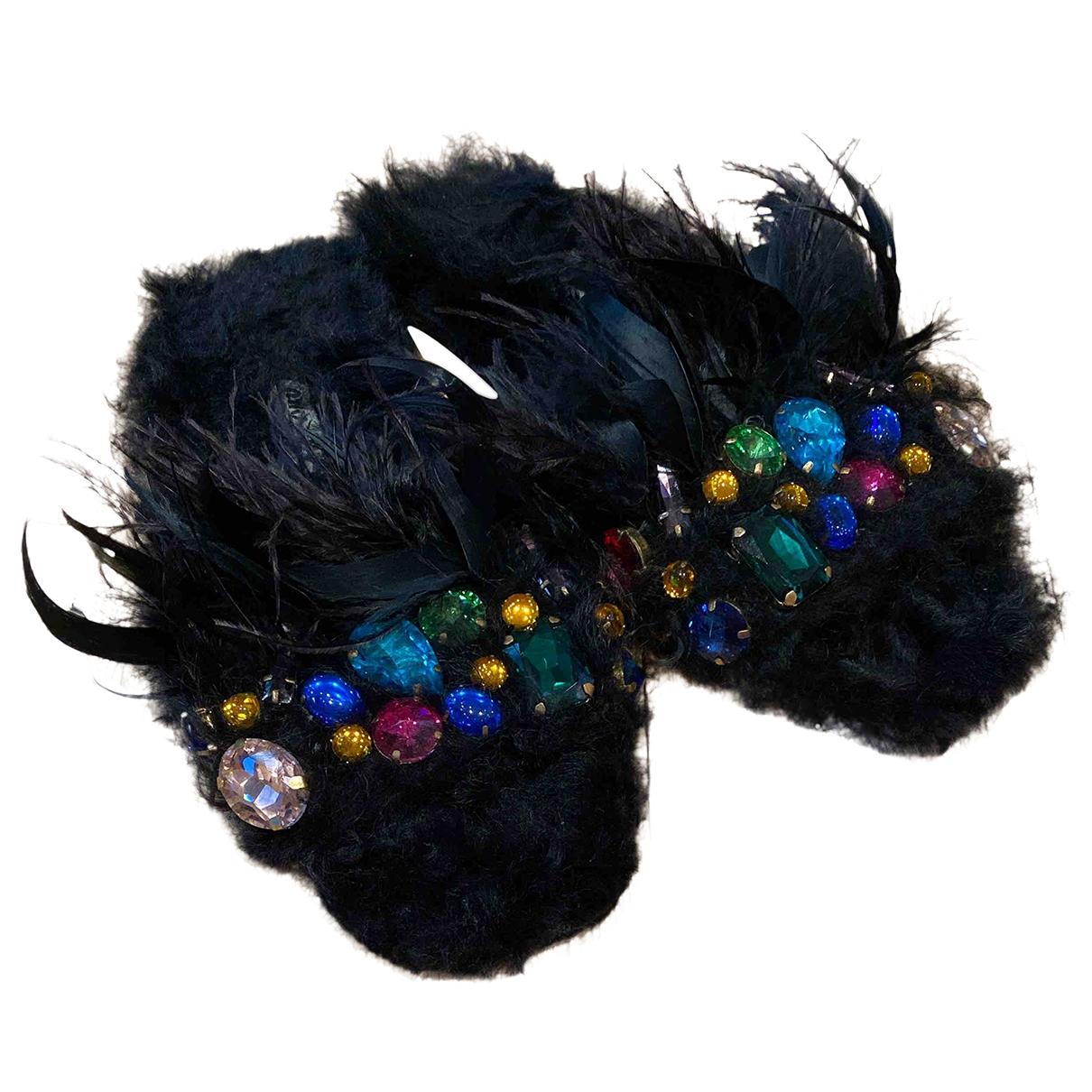 Miu Miu - Sandales   pour femme en fourrure - noir