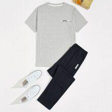 Conjunto de pijama camiseta con estampado de letra y dibujos animados con pantalones