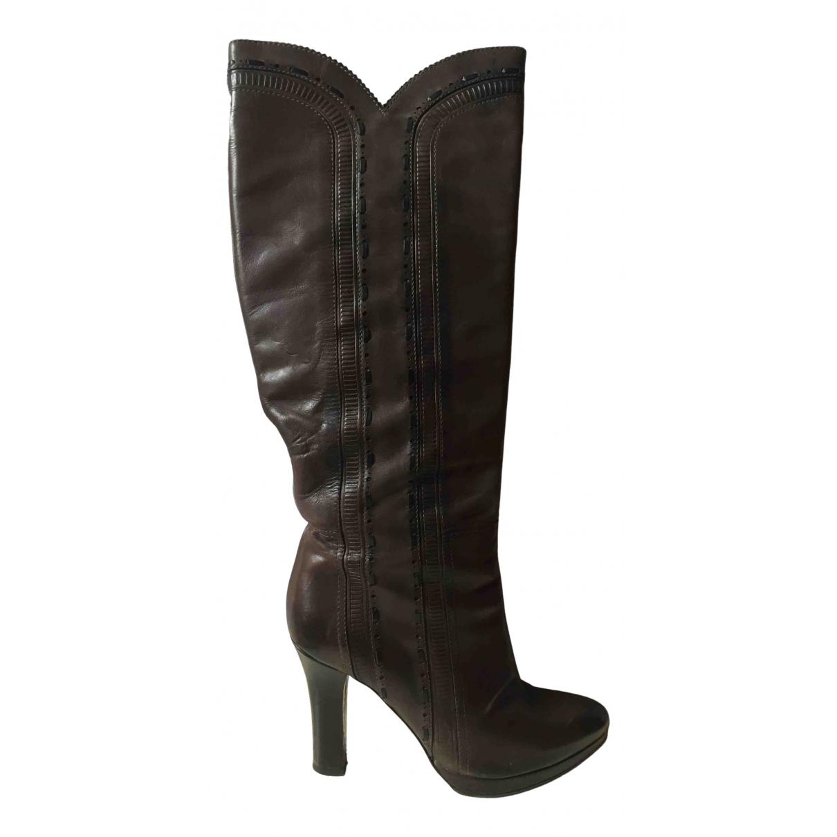 Bottega Veneta N Brown Leather Boots for Women 37 IT