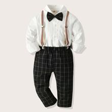 Kleinkind Jungen Top mit Schleife und Hose mit Karo Muster