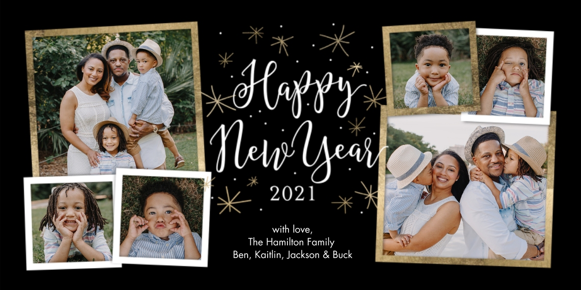 New Year's Photo Cards Flat Glossy Photo Paper Cards with Envelopes, 4x8, Card & Stationery -2021 Happy New Year Script by Tumbalina